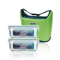 三光云彩glasslock韩国进口玻璃保鲜盒715ml*2 饭盒 便当盒包包二件套GL12A 透明盖