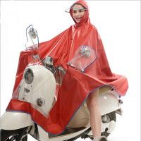雨程摩托车电瓶车电动车雨衣时尚透明大帽檐加大加厚雨披大红色