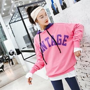 七格格连帽卫衣女装2018春装新款韩版长袖宽松时尚运动休闲潮人紫色