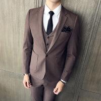 绅士英伦韩版修身领子竹编西服套装男士身三件套咖啡