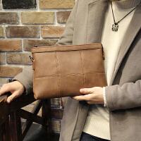 新款复古男士手包皮软青年手拿信封包男大容量韩版潮手抓包 咖啡色 全场满2件送手包