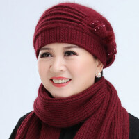 女士羊毛混纺保暖蝴蝶结蓓蕾帽 新款中老年人帽子女毛线帽加绒贝雷帽老奶奶针织帽