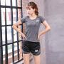 【限时抢购价】Q-AND/奇安达2018新款女士瑜伽健身两件套舒适柔软速干透气防走光运动跑步两件套装