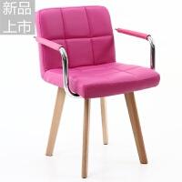 实木梳妆凳创意化妆椅子现代简约美甲靠背凳子欧式卧室梳妆台椅定制 szd本色脚有扶手枚红色 pu皮