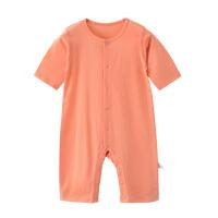 婴儿连体衣中袖薄款无骨睡衣泫雅风宝宝七分袖爬服哈衣婴儿衣服