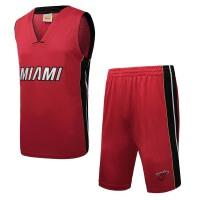 运动休闲训练篮球服薄款迈阿密热火队透气舒适   篮球跑步服套装男款
