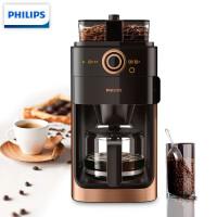 飞利浦(PHILIPS) 咖啡机 家用全自动双豆槽磨豆机预约功能咖啡壶 HD7762/70豆粉两用金属棕