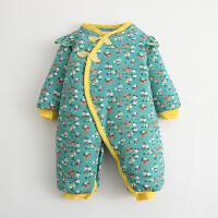 婴儿连体衣服宝宝新生儿哈衣03月棉衣加厚睡衣冬装冬季新年