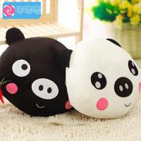 咔噜噜 黑白猪抱枕 靠垫 猪头毛绒玩具 情侣猪布娃娃 创意生日礼物   情人节礼物