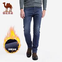 骆驼男装 秋冬新款加绒加厚牛仔裤男士直筒商务休闲保暖长裤