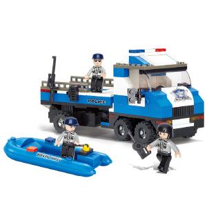 【当当自营】小鲁班城市特警系列儿童益智拼装积木玩具 汽艇运输车M38-B0186