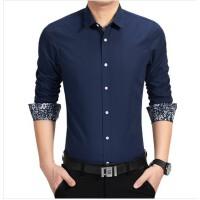 春秋季新款大码男土长袖衬衫韩版潮休闲方领衬衣男士修身微领衬衫