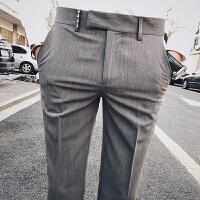 发型师九分裤男修身男士休闲裤子英伦小脚裤韩版潮流西裤男9分裤