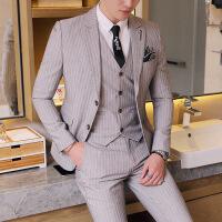 西装男韩版修身条纹西服三件套男士商务休闲发型师小西服