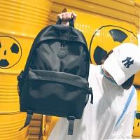 男士双肩包简约帆布百搭书包女学生韩版校园高中学生大容量旅行包 黑色