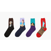 艺术油画 棉袜  男士袜子 4双套装花色*发货( 纯棉针织世界名画作品:莫奈星空、达芬奇蒙娜丽莎、浮世绘等) 不含发票