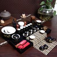 尚帝 黑金龙套装 陶瓷茶具套装 整套功夫茶具茶盘套装42件 TZ-M12K99