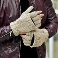 时尚保暖防风男士骑车滑雪半指手套韩版手套针织包指手套