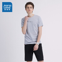 [秒杀价:62.9元,秒杀狂欢再续仅限4.3]真维斯运动套装男夏装男士修身短袖T恤五分短裤休闲衣服