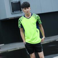 2018春秋短袖网球服套装男女款运动跑步比赛训练队服羽毛球服 男款 荧光绿