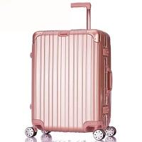 镜面铝框拉杆箱万向轮旅行箱20寸24寸28寸行李箱男女密码皮箱包潮 玫瑰金 20寸