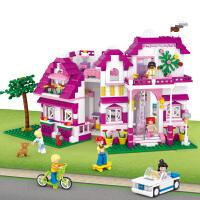 【当当自营】小鲁班新粉色梦想小镇女孩系列儿童益智拼装积木玩具 阳光别墅M38-B0536