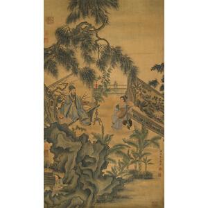 D4032禹之鼎《赏乐图》(原装旧裱,并有黄宾虹等多位名家收藏印,画心局部有破损。)