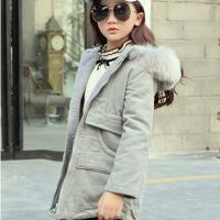 秋季童装女童中大童冬装小学生夹棉外套中长款灯芯绒大衣6-9-12岁