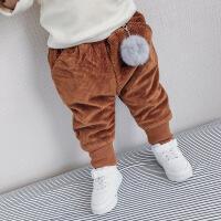 儿童加厚灯芯绒裤子冬装新款宝宝保暖毛球长裤男童纯棉纯色童裤潮