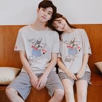 情侣睡衣 家居服女夏韩版宽松学生卡通棉男士短袖 可爱夏季套装