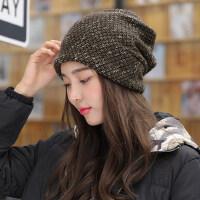 帽子女潮百搭韩版新款时尚英伦围脖两用毛线多功能套头帽