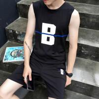 8夏季新款男士修身背心短裤运动健身套装大码无袖T恤马甲