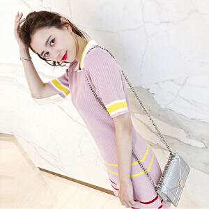 【班图诗妮】2018新款韩版宽松直筒裙子休闲polo条纹针织连衣裙女夏气质显瘦潮