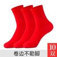 丝袜女士薄款天鹅绒短袜防勾丝中筒袜结婚红色本命年袜子