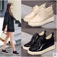 内增高女鞋秋季新款韩版百搭学生休闲鞋英伦风厚底漆皮单鞋子