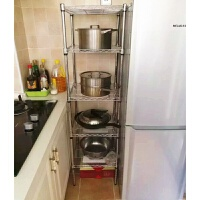 正方形厨房置物架不锈钢色落地多层整理架多功能收纳架锅架长50