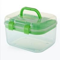 透明化妆品收纳箱带盖针线整理盒塑料双层加厚小医药箱手提工具箱