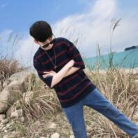 男装韩版宽松五分袖男生衣服学生条纹短袖恤潮男半袖体恤