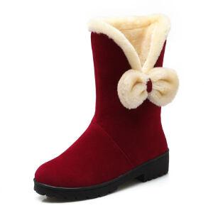 O'SHELL法国欧希尔新品冬季151-073-1韩版磨砂绒面平跟女士雪地靴