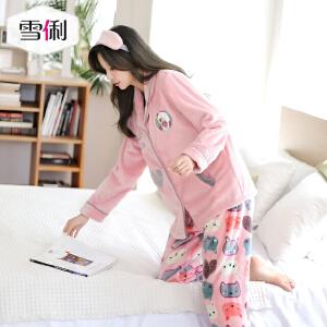 雪俐珊瑚绒睡衣家居服女士长袖秋冬季韩版卡通法兰绒学生套装