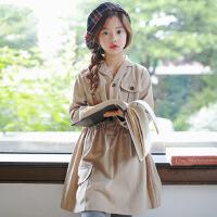 OP4295韩版女童18年秋款复古立领连衣裙中大童裙英伦风童裙