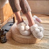 时尚冬季棉拖鞋女男情侣保暖厚底家居月子鞋可爱毛绒家用秋冬室内