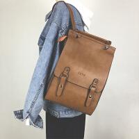 英伦风复古双肩包女韩版新款pu学院风校园学生书包大容量背包