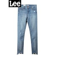Lee女装2018春夏新品优形丹宁深蓝色九分牛仔裤L124003AL8BX