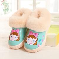 棉拖鞋包跟冬季防水PU皮保暖棉鞋男女童宝宝家居棉靴加厚防滑 30-31 内长19.0cm