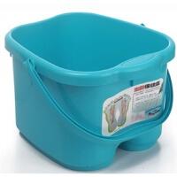 普润 脚底按摩功能 塑料足浴桶 洗脚盆 洗脚桶足浴盆 蓝色