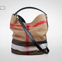 2018春款女包来自星星的你同款格子水桶包帆布单肩斜挎包手提包