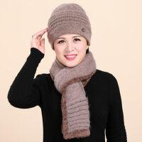 新款女士兔毛保暖妈妈帽围巾老人帽子女奶奶毛线中老年人帽针织围巾
