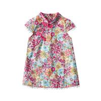 女宝宝旗袍夏季小女孩改良中国风薄款婴儿碎花连衣裙女童唐装