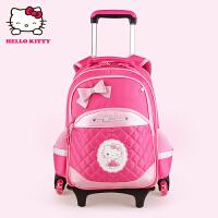 Hello Kitty凯蒂猫 KT1068玫红女小学生三轮爬楼梯拉杆书包 当当自营